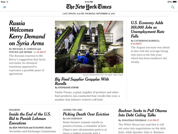 NYTtopnewsipad 730x547 The New York Times updates its apps for iOS 7, with cleaner design and AirDrop for article sharing