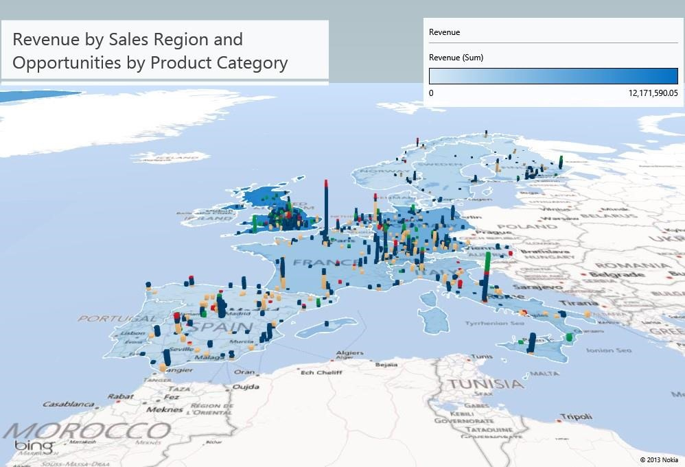 Power BI For Office Data Search Natural Language Querying - Mapping sales data