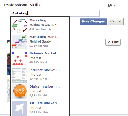 Screen Shot 2013 09 08 at 9.17.48 AM Facebook is testing a LinkedIn like Professional Skills section on user profiles (Update)