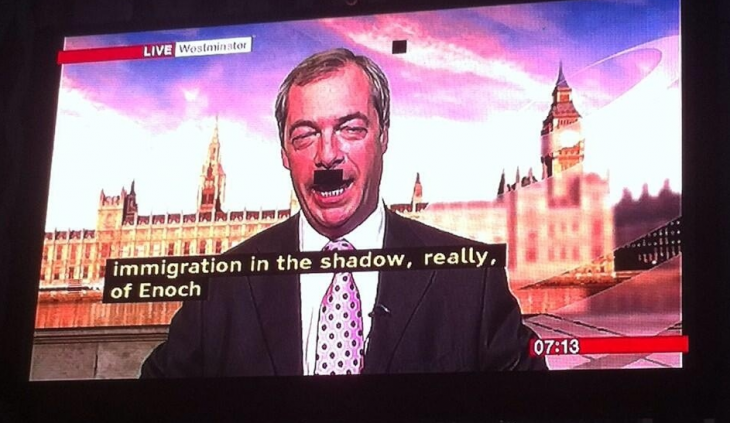 Unintentional comedy gold: Pixel fault gives politician a rather unfortunate moustache during interview. ...