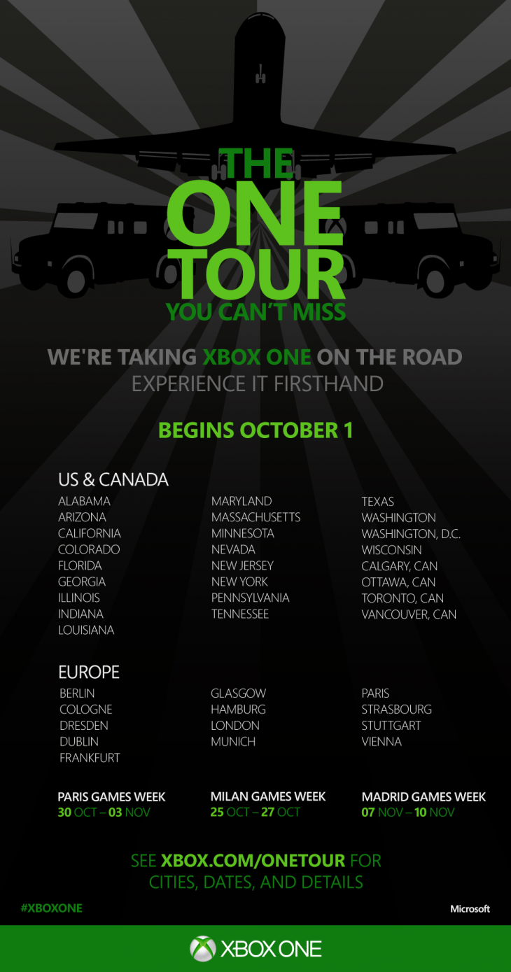 Xbox One Tour Poster 730x1389 Microsofts Xbox One tour kicks off October 1, coming to over 75 cities in the US, Canada, and Europe