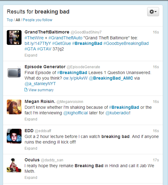 bb search Heres why Twitter, not Facebook, is the place to discuss Breaking Bad and other TV shows