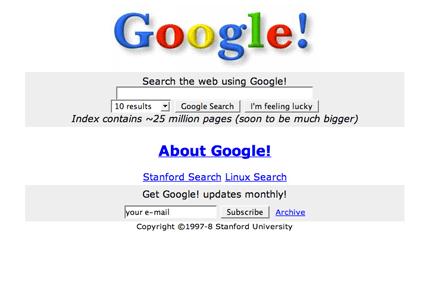 Original google website