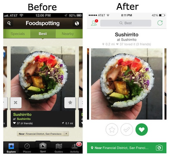 foodspotting beforeafter Before and after: The best iOS 7 app redesigns