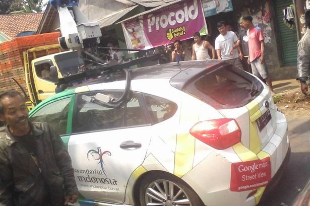gsv indo1 Google Street View car crashes into TWO minivans and a parked vehicle   driver runs off [Photos]