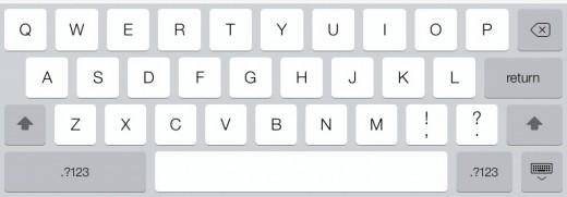 The iOS 7 keyboard on the iPad