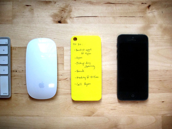 These sticky notes stick to the back of your iPhone. Paper and digital productivity at its finest.