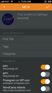 pressgram 1 220x390 Pressgram: An Instagram like service that posts filtered photos to your Wordpress site