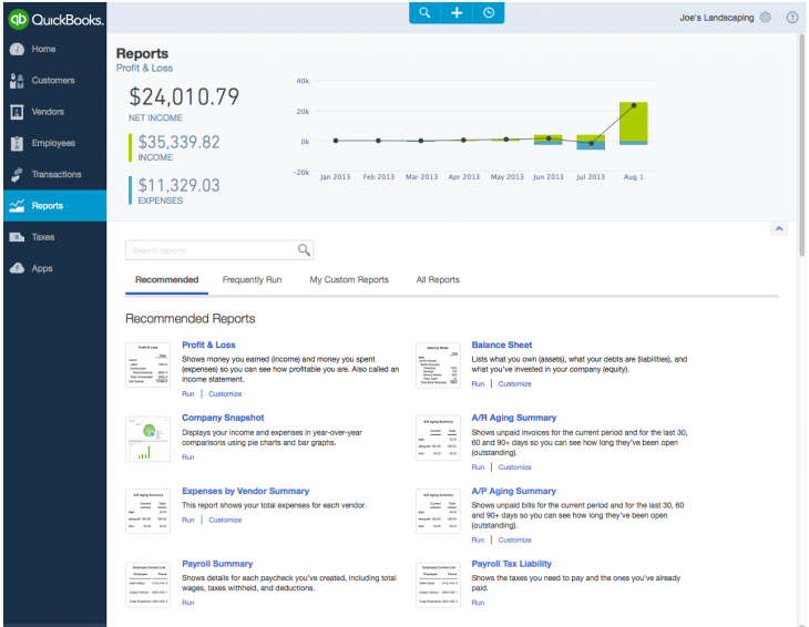 reports 730x566 Intuit refreshes QuickBooks Online for the Web as it pursues being a business operating system