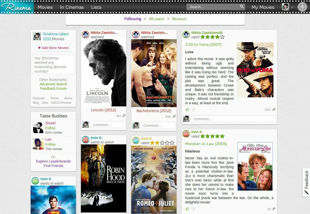 Rinema Provides Social Movie Recommendations Based on Your Tastes
