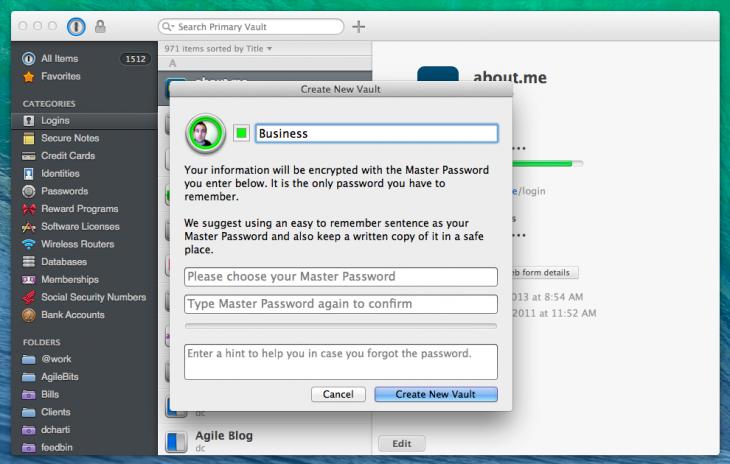 1P4 Mac create new vault