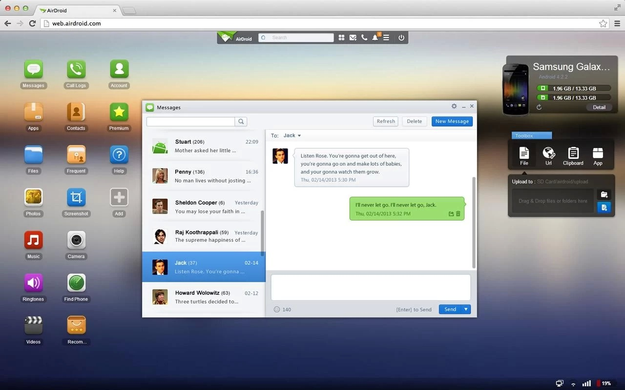 AirDroid allows you to send text messages through your phone from the comfort of a desktop browser.
