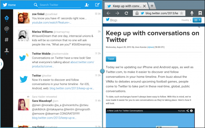 Multi Screen View Twitter is optimizing its Android app for tablets, starting with Samsung devices and available to all by year end