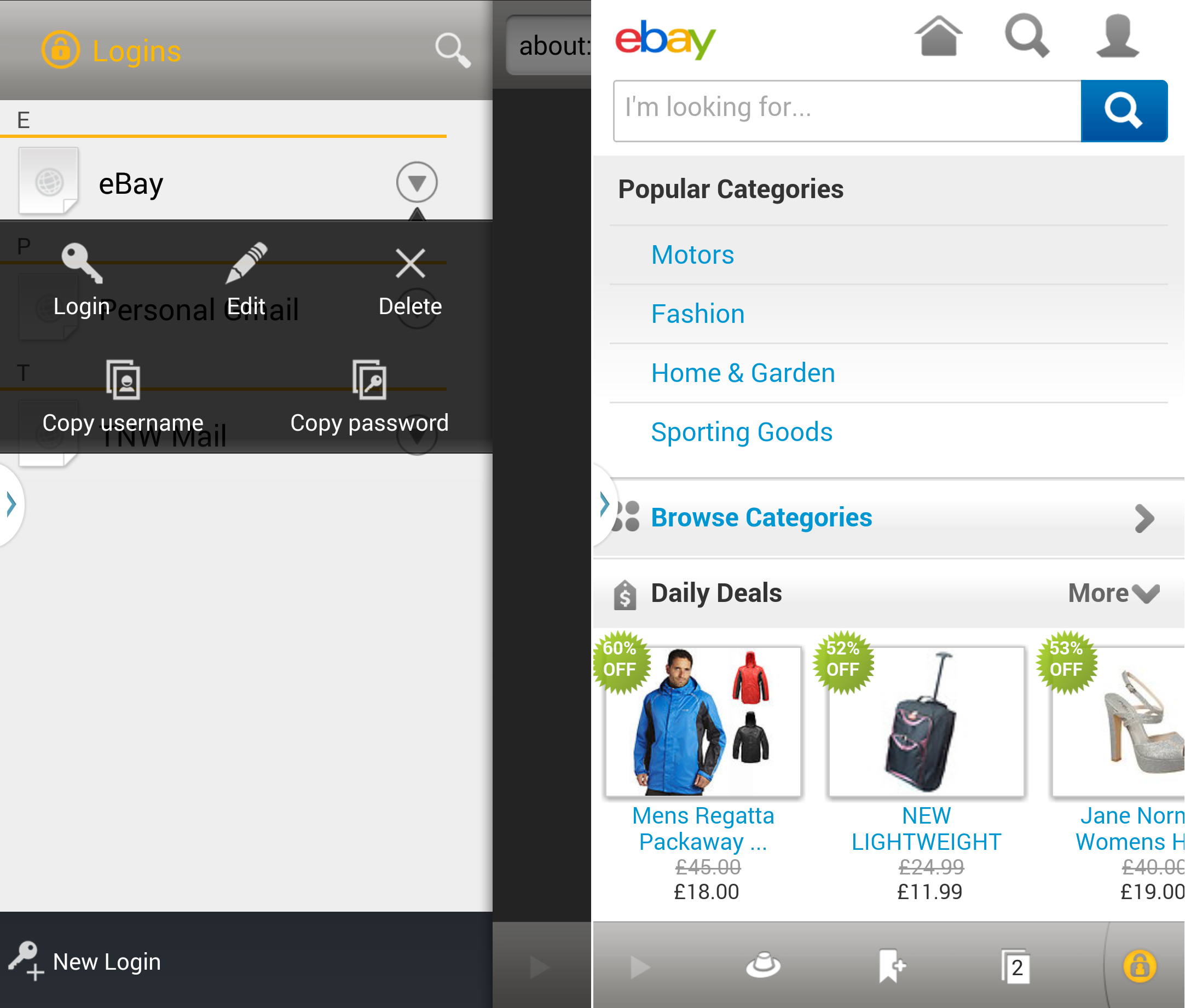 how to change ebay password on android