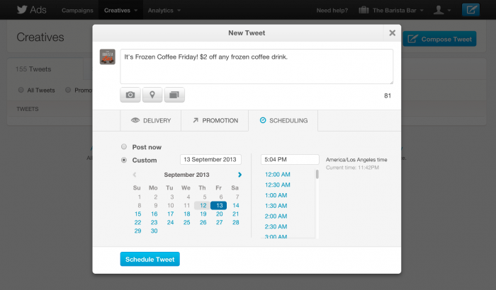 Schedule Tweet JPG2 Twitter brings scheduled tweets to its Ad Products, lets you pick times and dates up to a year in advance