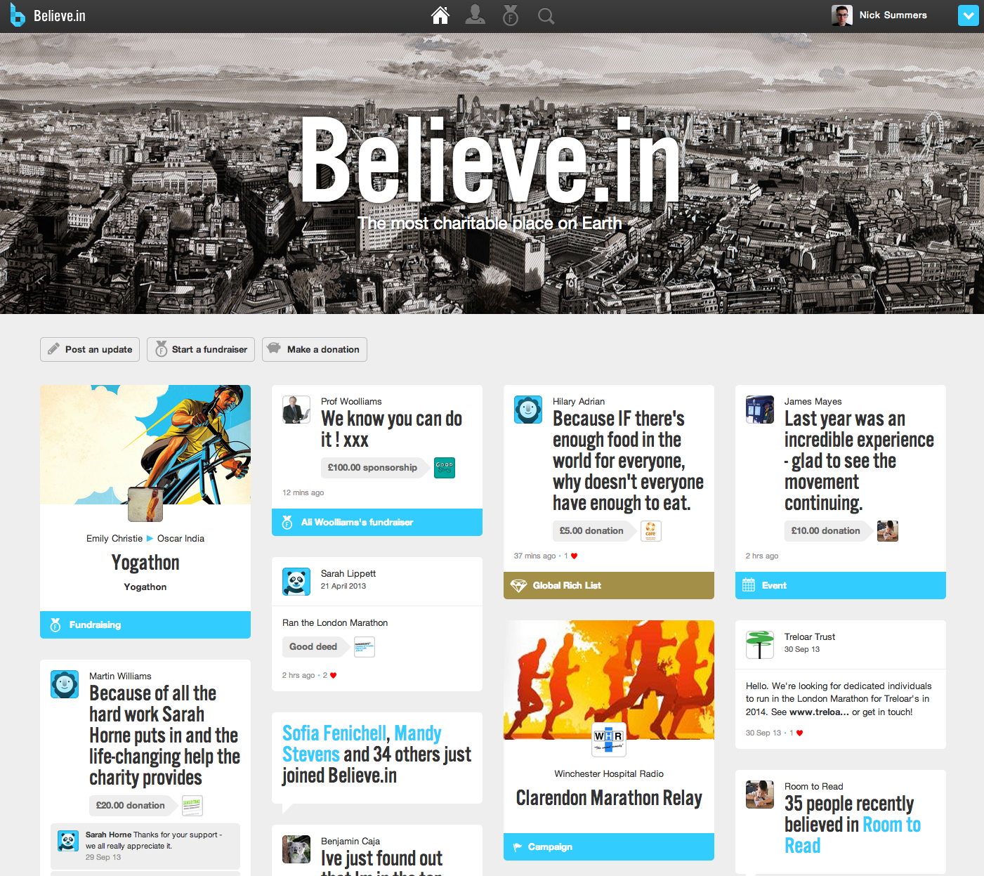 Fundraising Platform Believe.in Redesigned With Beautiful Tile Layout