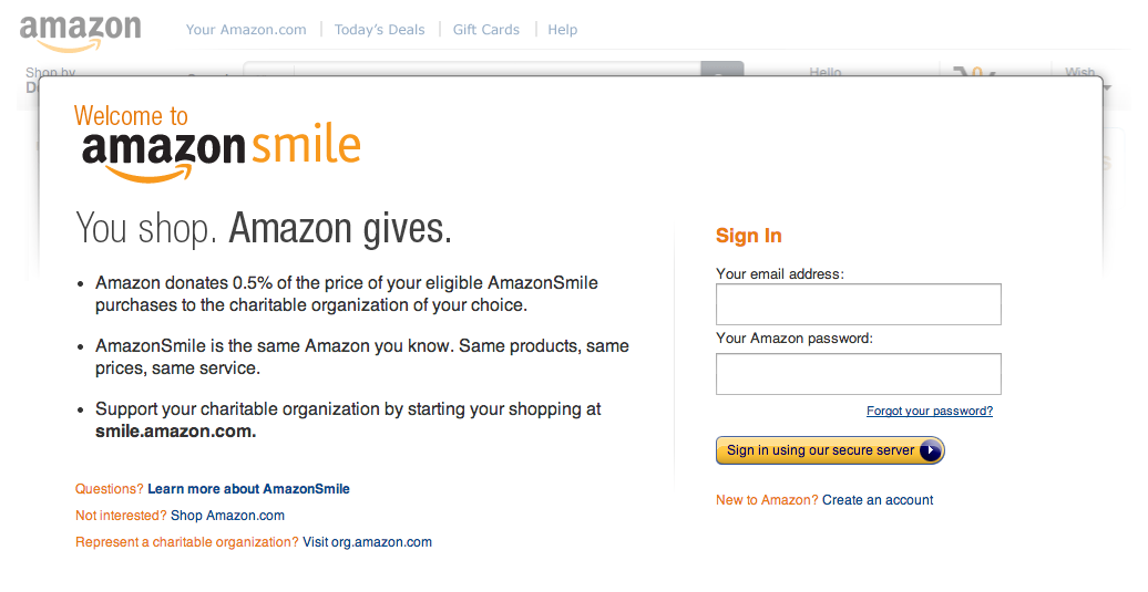 Screen Shot 2013 10 30 at 13.28.44 Amazon unveils AmazonSmile, will now donate a percentage of select orders to a charity of your choice