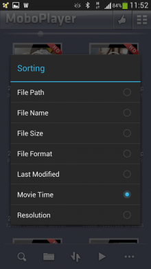 MoBoPlayer video player app sorting