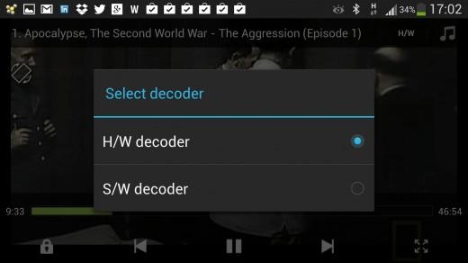 MX Player select decoder