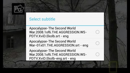 BSPlayer video player select subtitle