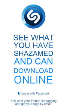 Shazam 220x368 You can now see all your Shazam tagged songs from your browser