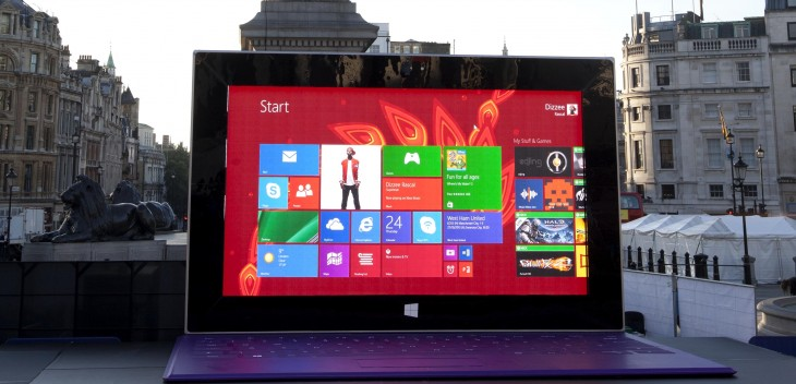 Microsoft's least portable tablet ever: 27ft wide and 17ft tall Surface 2 lands in central London ...