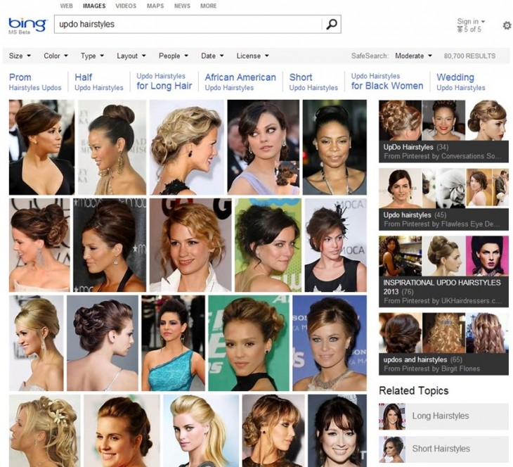 Updos 1B0C411E 730x664 Microsoft adds Pinterest boards to Bing Image Search as part of broader image collections feature