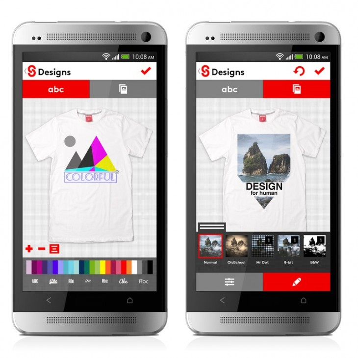 android UI screen 730x730 Snaptee, a cool service that lets you design and order your own t shirts, gets an Android app