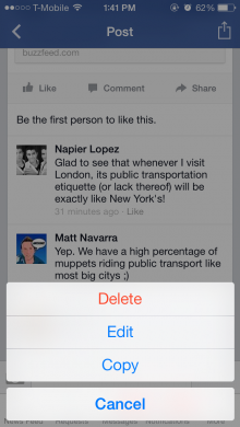 facebook ios 220x390 Facebook updates iOS app to support editing of comments and posts, attaching photos to comments