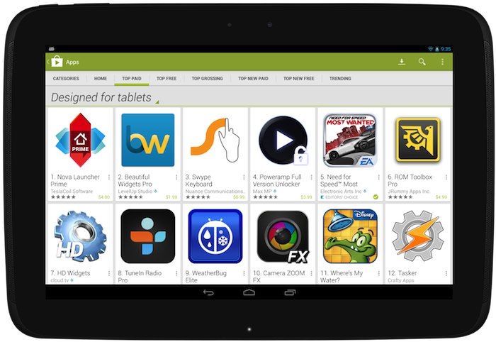 framed designed tablets Google Play will highlight dedicated tablet apps to tablet users by default from November 21