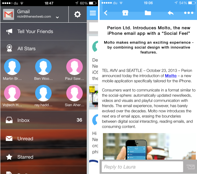 molto3 Visualize your email inbox as a social network feed with Molto for iOS and Android tablets