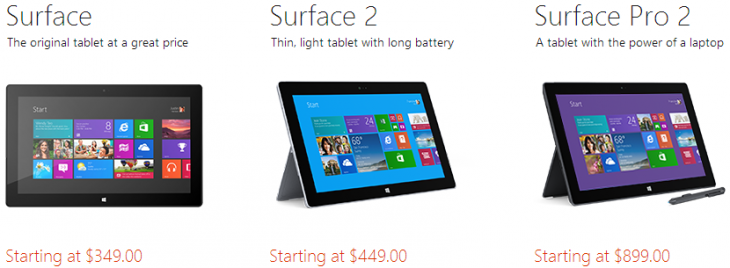 surface 730x268 Microsoft slashes Surface Pros price by another $100: 64GB for $699, 128GB for $799, and 256GB for $999