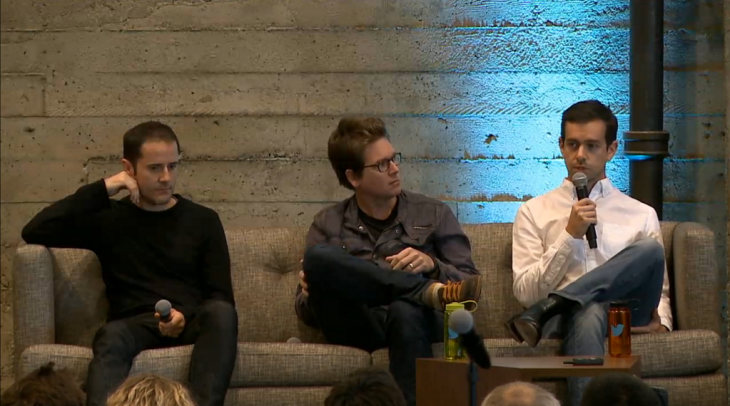 Twitter three founders at a company event.