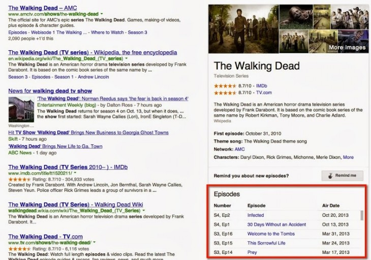 walkingdead 730x512 Google Search gains TV show air dates support, saving you from having to check IMDB