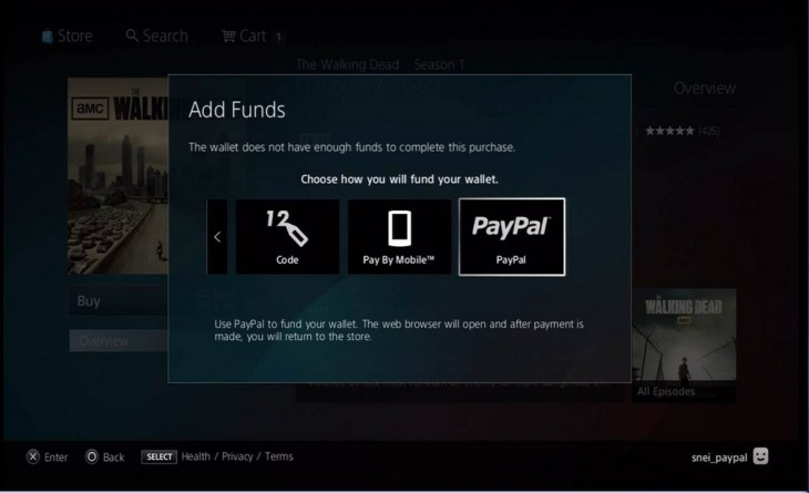 You can now add credit to your Sony Entertainment Network wallet using PayPal on the PlayStation 3