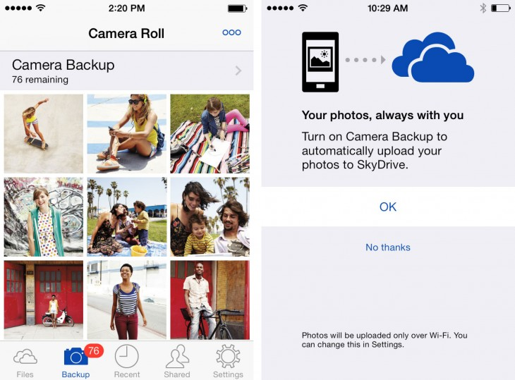 Backup Final1 730x539 Microsofts SkyDrive iOS app gets auto camera backup, viewing support for Office and OneNote files