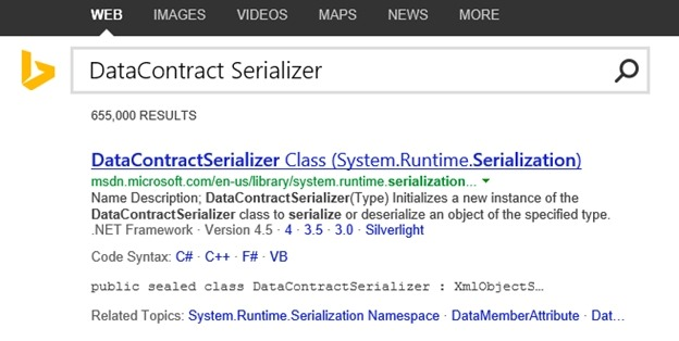 Bing Surfaces MSDN API Documentation Directly in Search Results