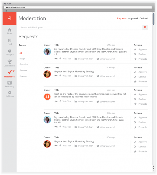 Moderation 520x580 Addvocate to launch refresh of its employee advocacy platform and integrate with Salesforce Chatter