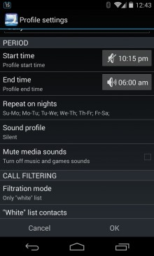 Nights Keeper will start its profile at a scheduled time each day and screen all but your most urgent calls for you.