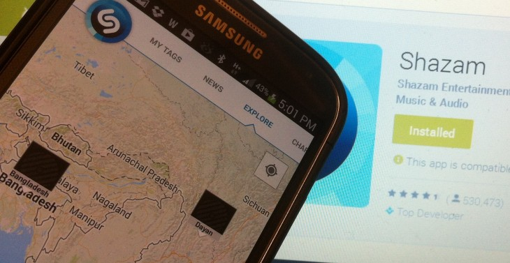 Shazam brings interactive maps to Android, letting you see the most-tagged songs by region
