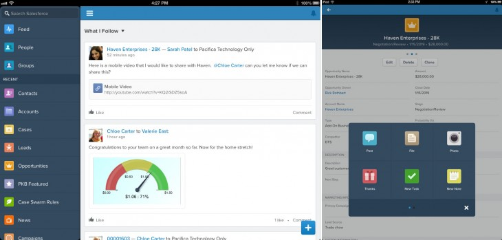 S1 navigation IPAD 730x349 Salesforce unveils Salesforce1, a new CRM platform to help companies shift focus to customers