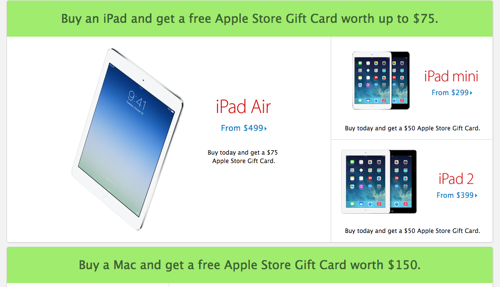apple offers free gift cards for black friday