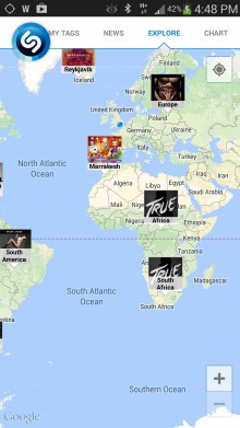 Shazam brings interactive maps to Android, letting you see the most tagged songs by region