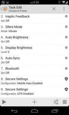 Conserve Power Task Edit Screen