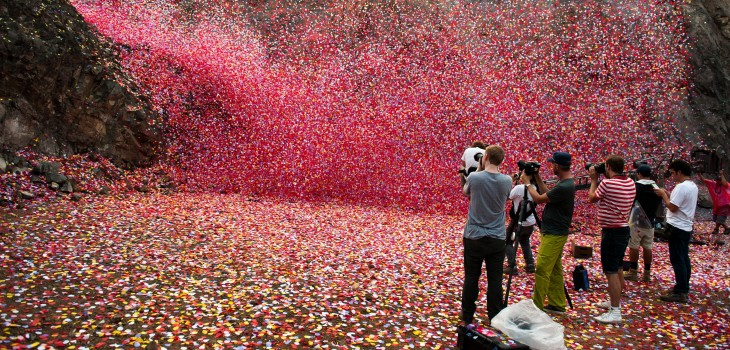 Sony fires 8 million colorful petals out of a volcano in Costa Rica in this stunning ad for 4K TVs
