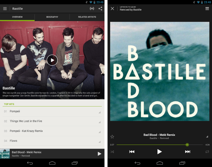 Spotify1 30 of the most beautiful and well designed Android apps