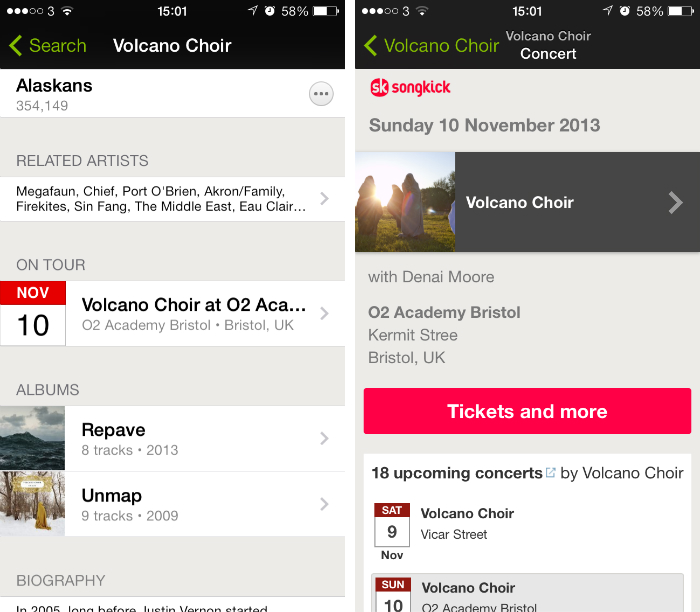 Spotify11 Spotify for iOS app gets concert dates on artist pages, ability to search playlists and user profiles