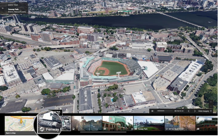 Take a virtual tour of Fenway Park 730x471 New Google Maps gets Pegman back, Street View tweaks, 3D Earth Tours, preview directions, and Waze traffic reports