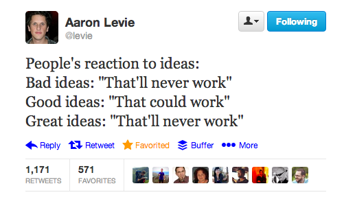 aaron tweet The myth of the brainstorming session: The best ideas dont always come from meetings