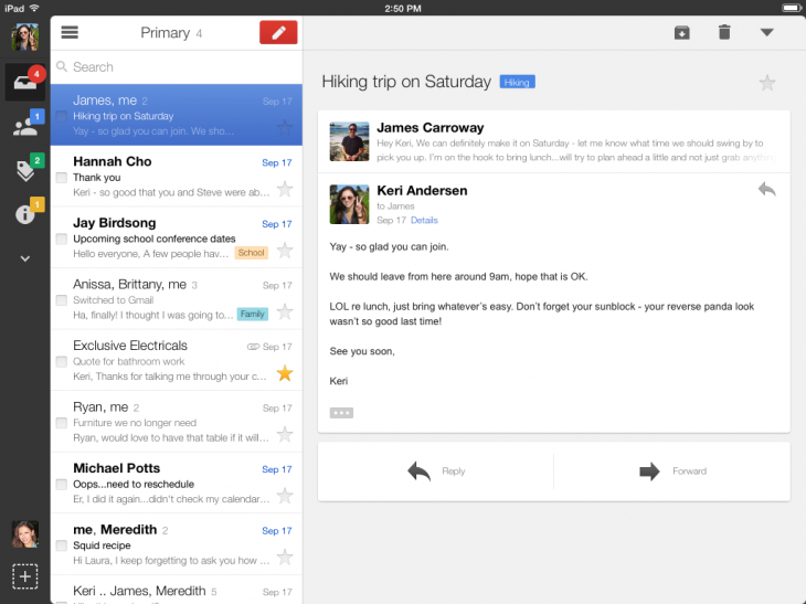 iPad1 730x547 Gmail iOS app refined for iOS 7, gets a new navigation bar and full screen email composition on iPad